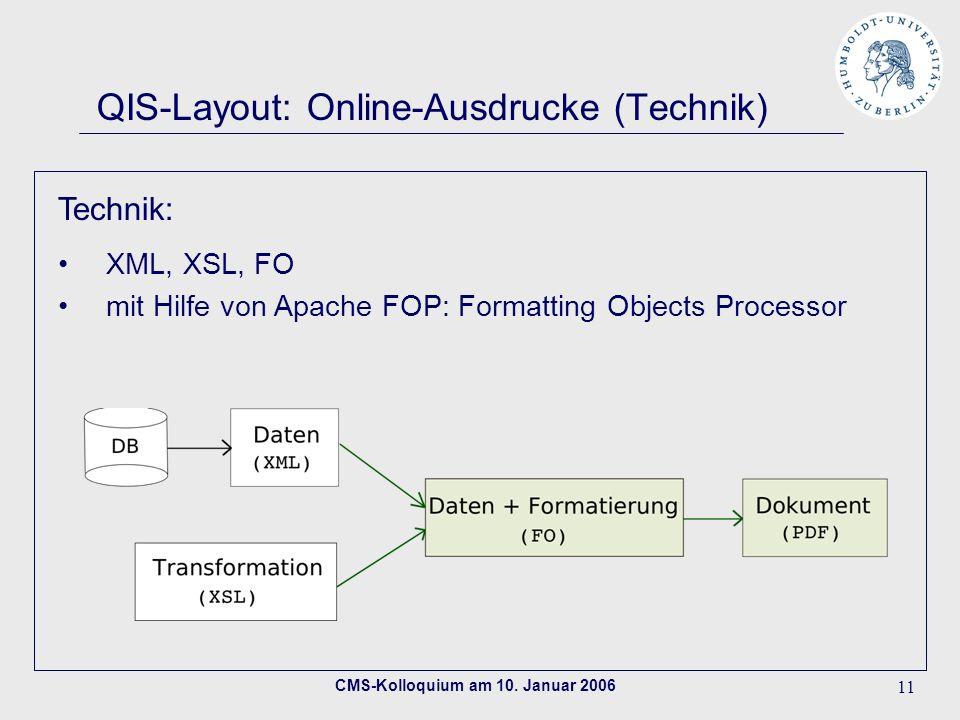 CMS-Kolloquium am 10. Januar 2006 11 QIS-Layout: Online-Ausdrucke (Technik) Technik: XML, XSL, FO mit Hilfe von Apache FOP: Formatting Objects Process