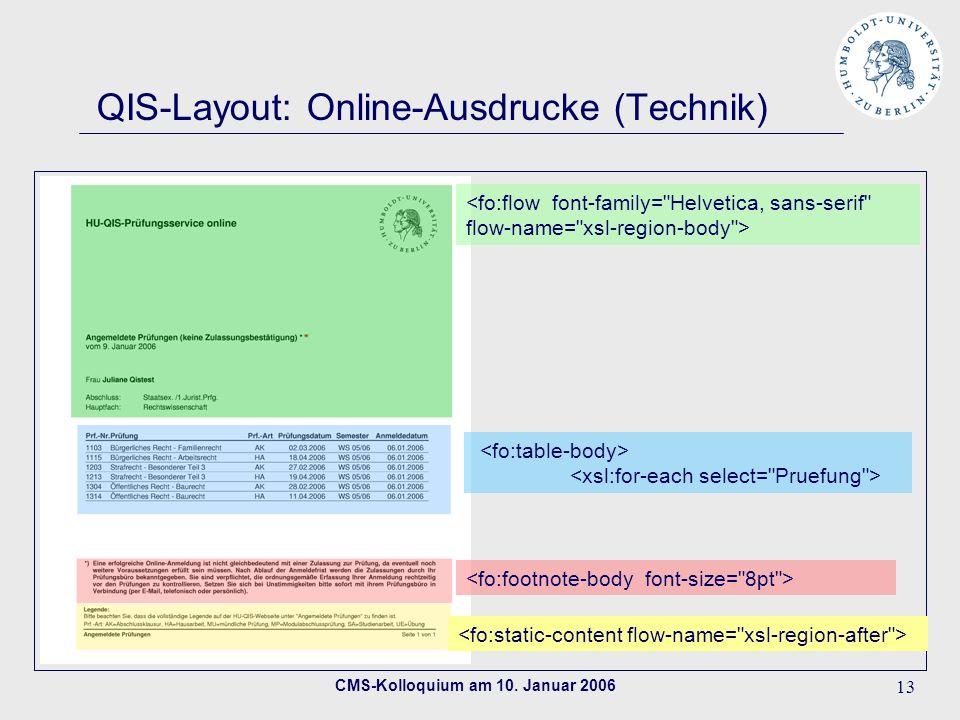 CMS-Kolloquium am 10. Januar 2006 13 QIS-Layout: Online-Ausdrucke (Technik)