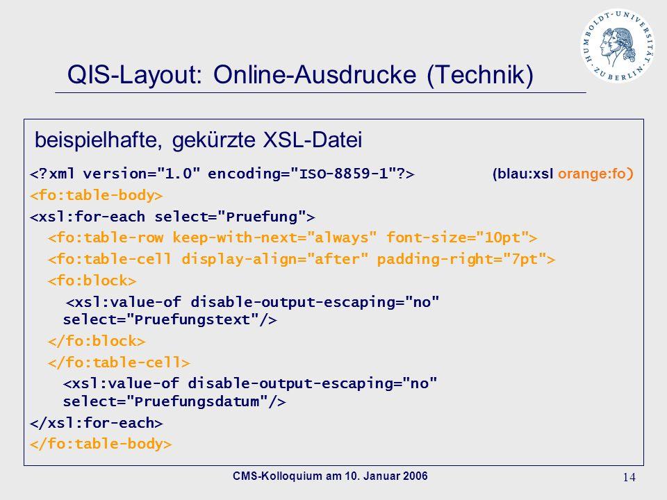 CMS-Kolloquium am 10. Januar 2006 14 QIS-Layout: Online-Ausdrucke (Technik) (blau:xsl orange:fo ) beispielhafte, gekürzte XSL -Datei