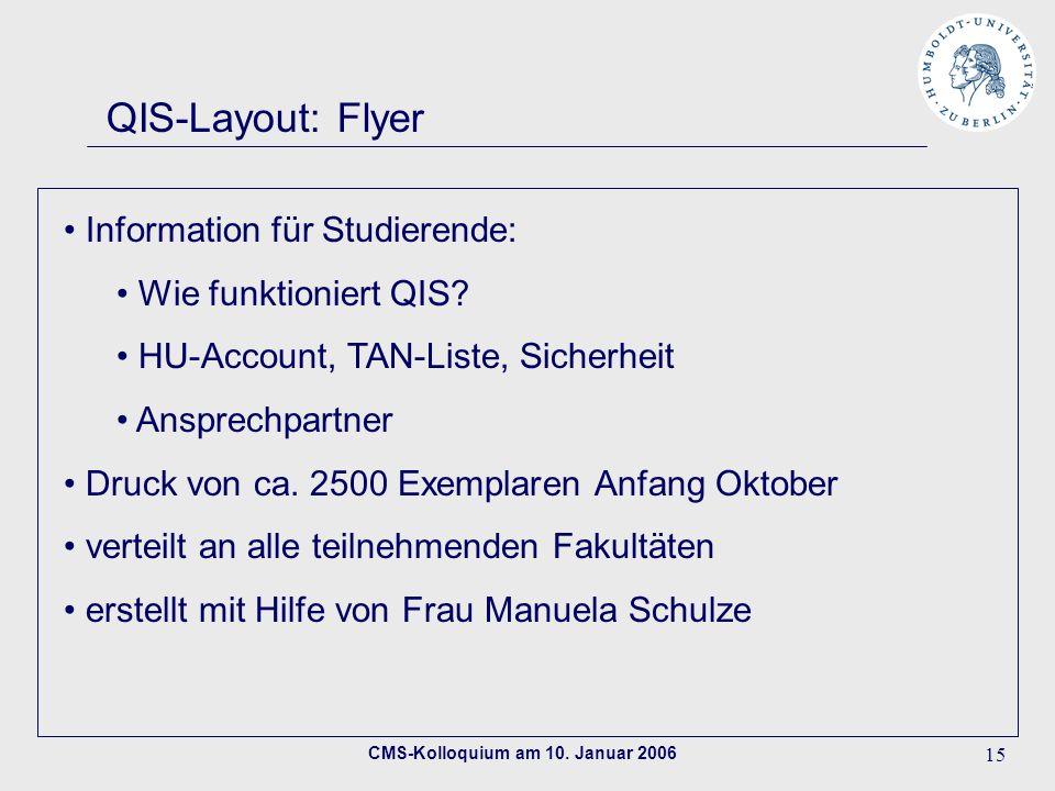 CMS-Kolloquium am 10. Januar 2006 15 QIS-Layout: Flyer Information für Studierende: Wie funktioniert QIS? HU-Account, TAN-Liste, Sicherheit Ansprechpa