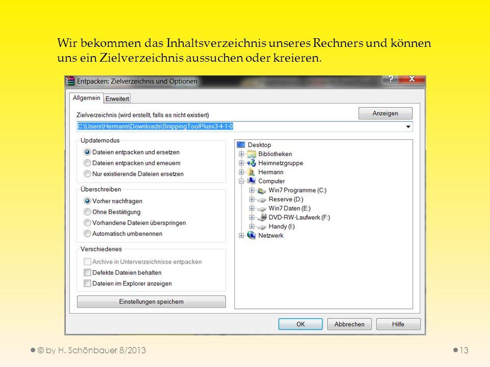 © by H. Schönbauer 8/201313 Wir bekommen das Inhaltsverzeichnis unseres Rechners und können uns ein Zielverzeichnis aussuchen oder kreieren.