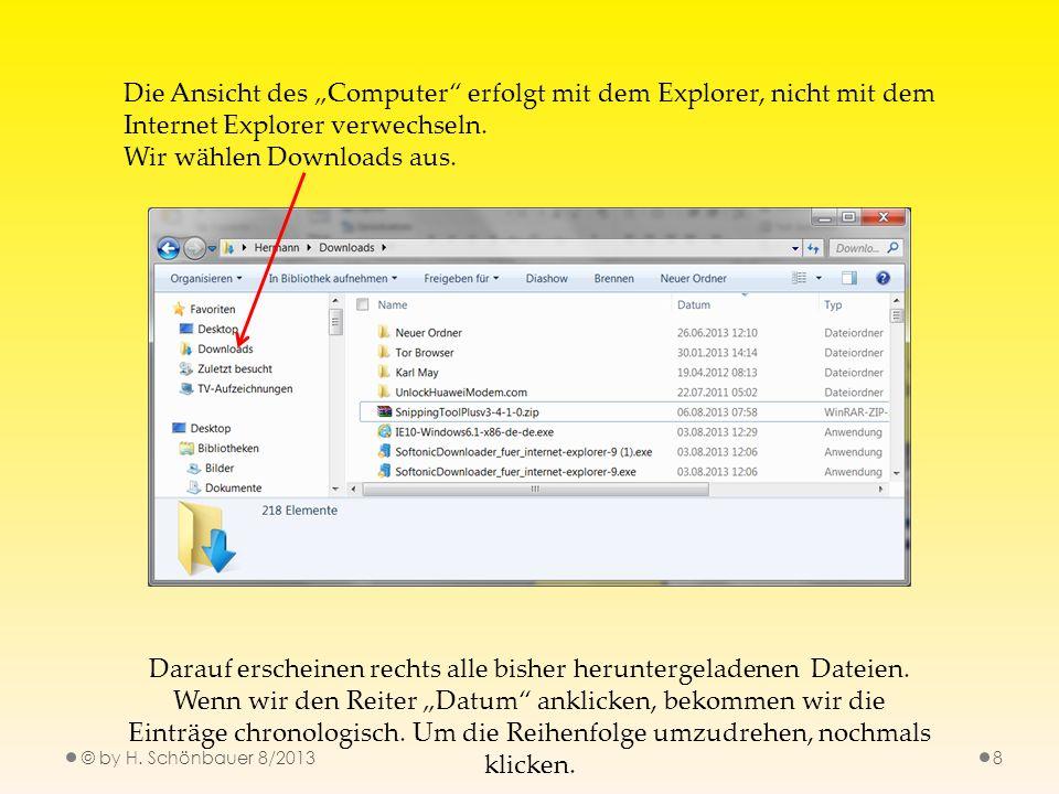 © by H. Schönbauer 8/20138 Die Ansicht des Computer erfolgt mit dem Explorer, nicht mit dem Internet Explorer verwechseln. Wir wählen Downloads aus. D