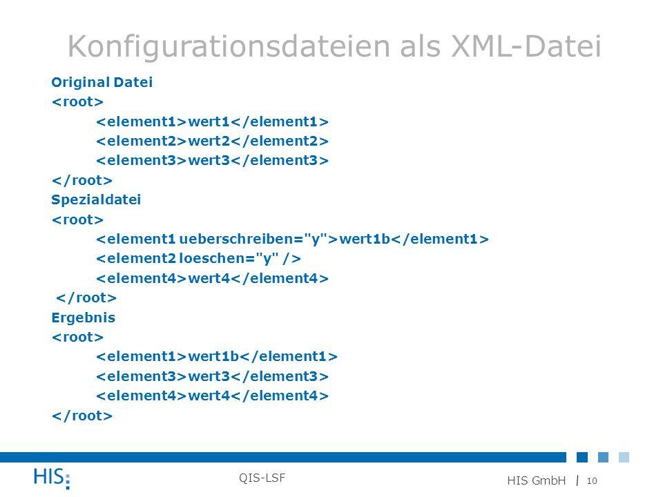 10 HIS GmbH QIS-LSF Original Datei wert1 wert2 wert3 Spezialdatei wert1b wert4 Ergebnis wert1b wert3 wert4 Konfigurationsdateien als XML-Datei