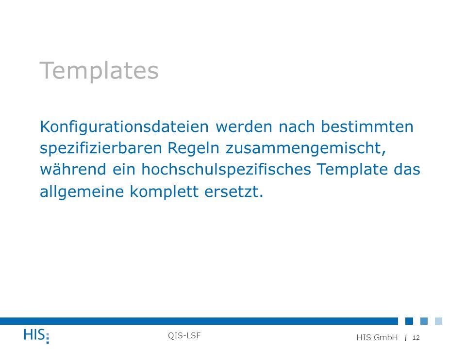 12 HIS GmbH QIS-LSF Templates Konfigurationsdateien werden nach bestimmten spezifizierbaren Regeln zusammengemischt, während ein hochschulspezifisches