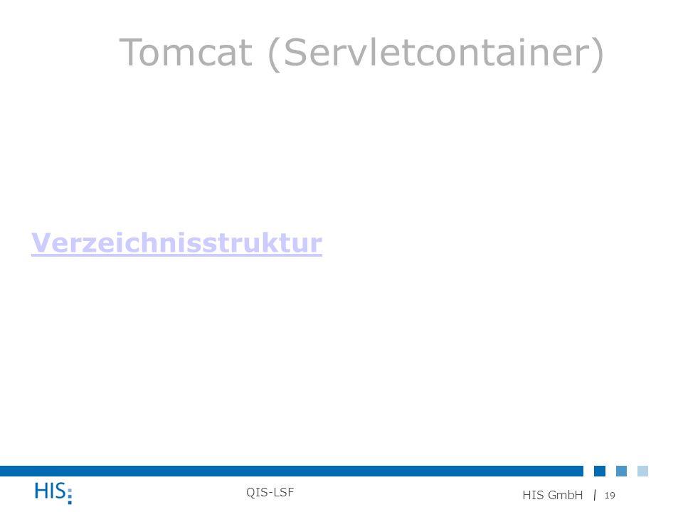 19 HIS GmbH QIS-LSF Verzeichnisstruktur Tomcat (Servletcontainer)