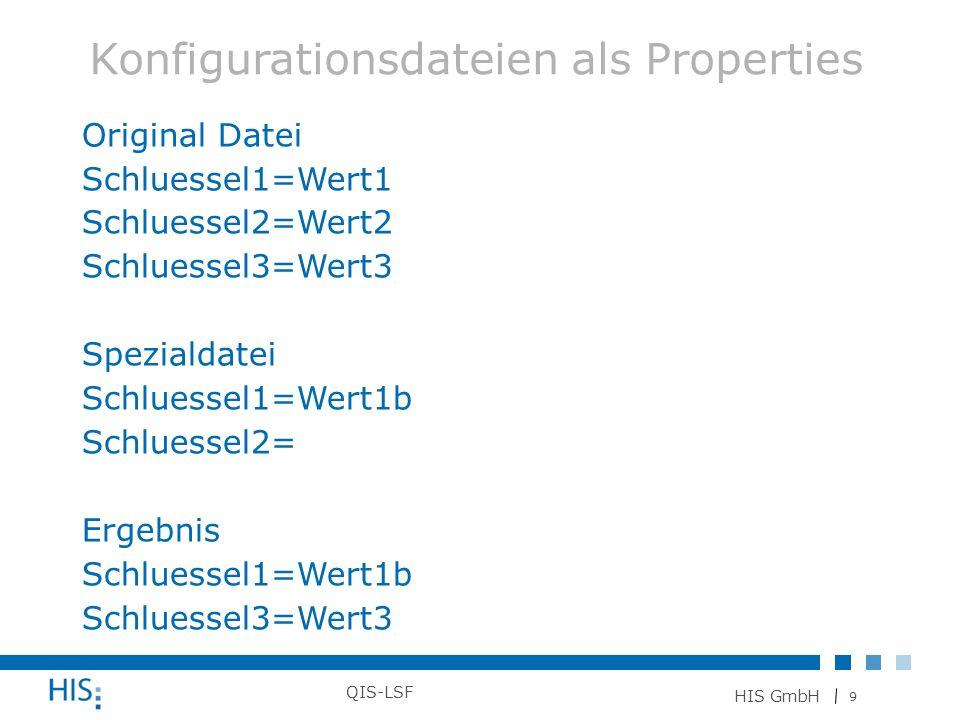 9 HIS GmbH QIS-LSF Original Datei Schluessel1=Wert1 Schluessel2=Wert2 Schluessel3=Wert3 Spezialdatei Schluessel1=Wert1b Schluessel2= Ergebnis Schluess