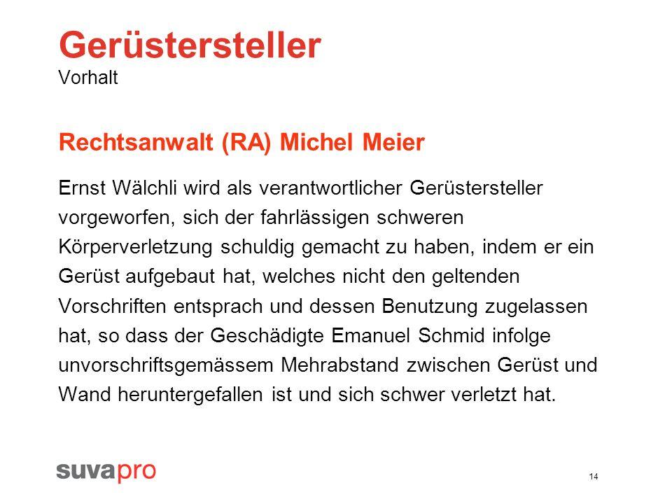14 Gerüstersteller Vorhalt Rechtsanwalt (RA) Michel Meier Ernst Wälchli wird als verantwortlicher Gerüstersteller vorgeworfen, sich der fahrlässigen s