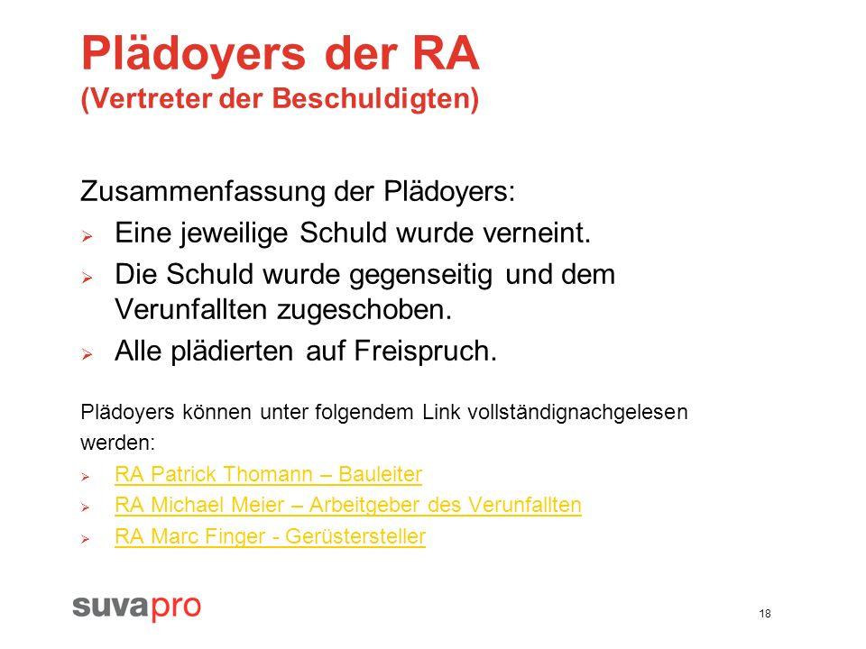 18 Plädoyers der RA (Vertreter der Beschuldigten) Zusammenfassung der Plädoyers: Eine jeweilige Schuld wurde verneint. Die Schuld wurde gegenseitig un