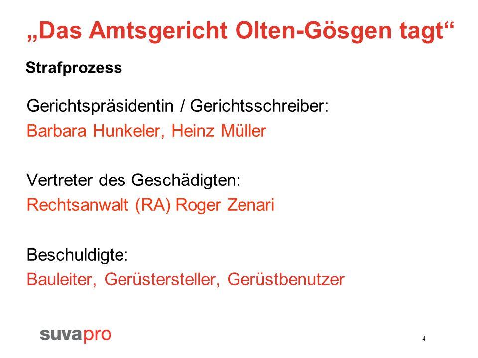 4 Das Amtsgericht Olten-Gösgen tagt Gerichtspräsidentin / Gerichtsschreiber: Barbara Hunkeler, Heinz Müller Vertreter des Geschädigten: Rechtsanwalt (