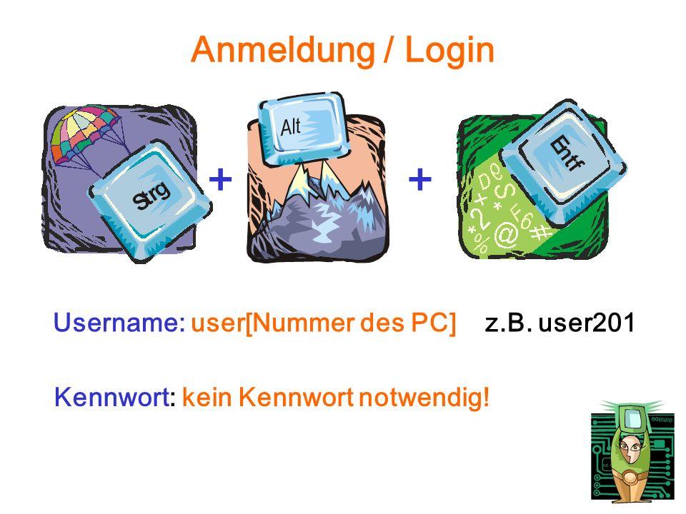Anmeldung / Login ++ Username: user[Nummer des PC] z.B. user201 Kennwort: kein Kennwort notwendig!