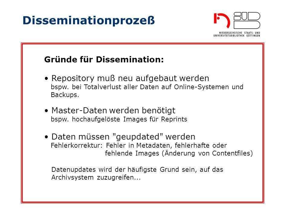 Disseminationprozeß Repository muß neu aufgebaut werden bspw. bei Totalverlust aller Daten auf Online-Systemen und Backups. Gründe für Dissemination: