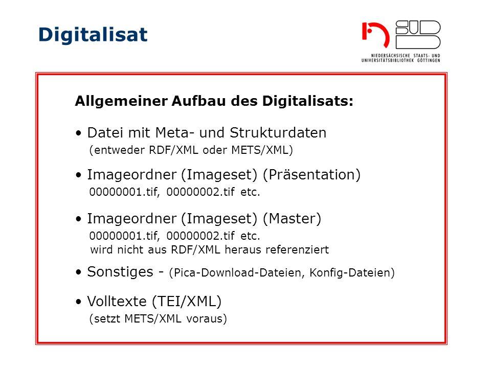 Digitalisat Datei mit Meta- und Strukturdaten (entweder RDF/XML oder METS/XML) Allgemeiner Aufbau des Digitalisats: Imageordner (Imageset) (Präsentati