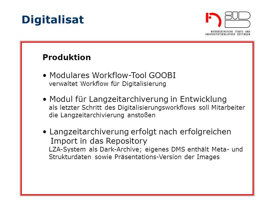 Digitalisat Modulares Workflow-Tool GOOBI verwaltet Workflow für Digitalisierung Produktion Modul für Langzeitarchiverung in Entwicklung als letzter S