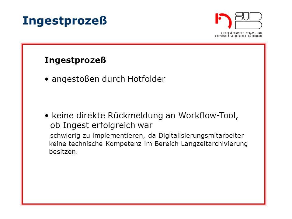 Ingestprozeß angestoßen durch Hotfolder Ingestprozeß keine direkte Rückmeldung an Workflow-Tool, ob Ingest erfolgreich war schwierig zu implementieren