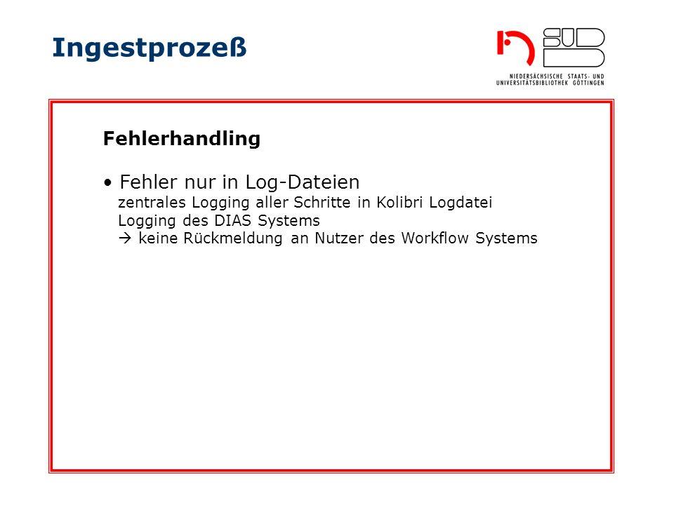 Ingestprozeß Fehler nur in Log-Dateien zentrales Logging aller Schritte in Kolibri Logdatei Logging des DIAS Systems keine Rückmeldung an Nutzer des Workflow Systems Fehlerhandling