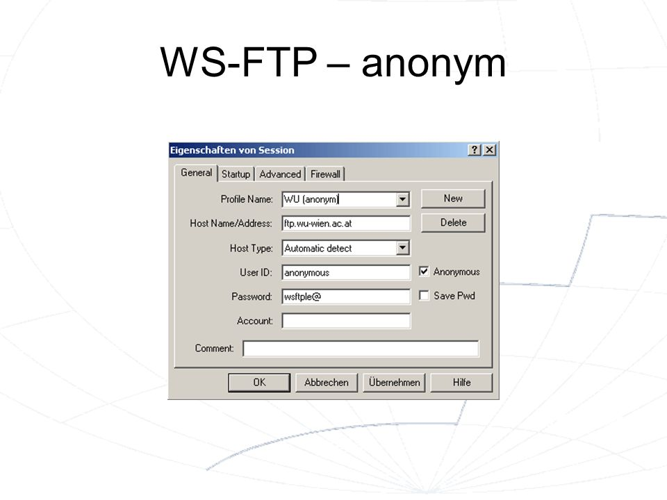 WS-FTP – anonym