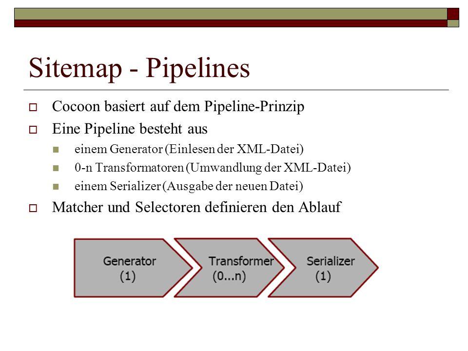 Sitemap - Pipelines Cocoon basiert auf dem Pipeline-Prinzip Eine Pipeline besteht aus einem Generator (Einlesen der XML-Datei) 0-n Transformatoren (Um