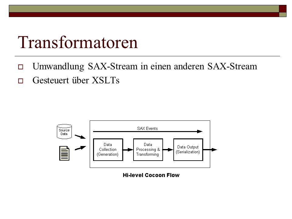 Transformatoren Umwandlung SAX-Stream in einen anderen SAX-Stream Gesteuert über XSLTs