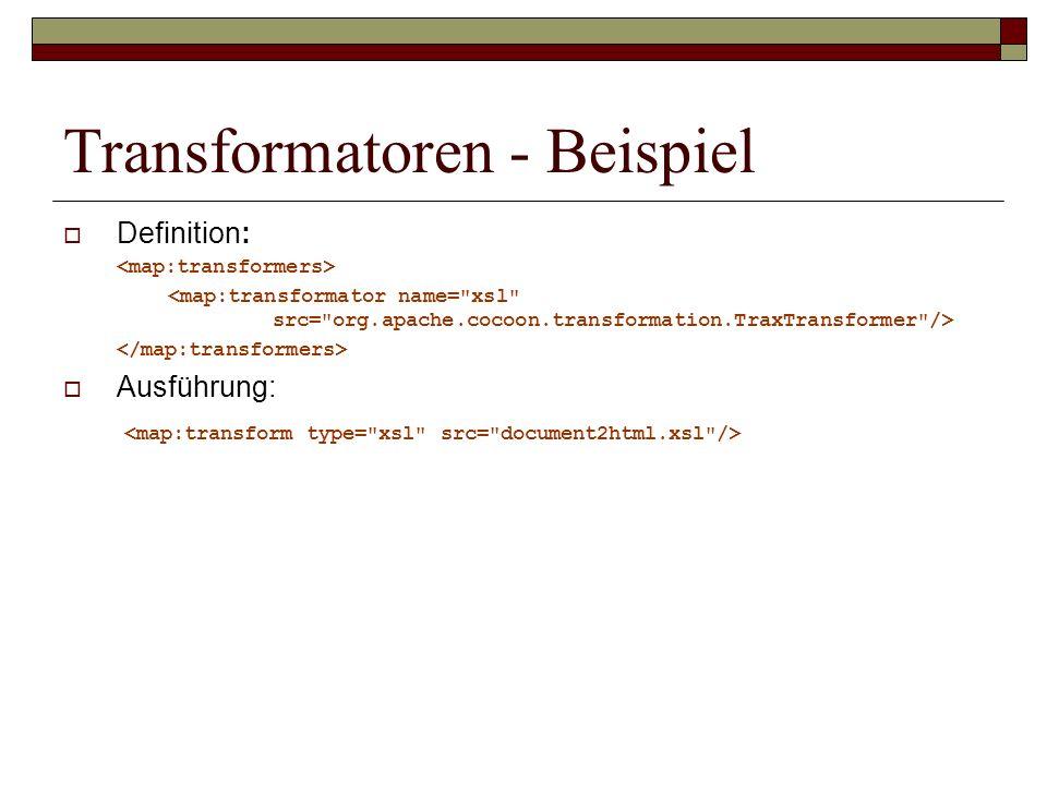 Transformatoren - Beispiel Definition: Ausführung: