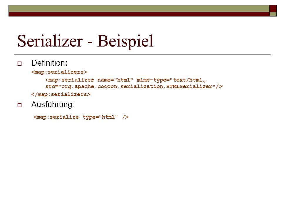 Serializer - Beispiel Definition: Ausführung: