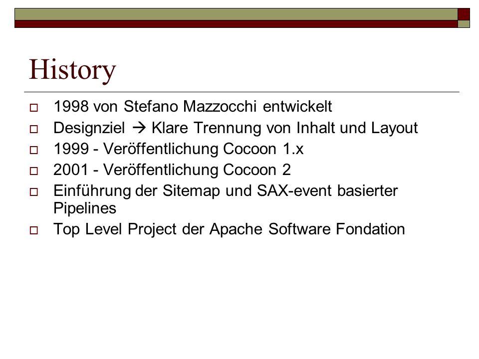 History 1998 von Stefano Mazzocchi entwickelt Designziel Klare Trennung von Inhalt und Layout 1999 - Veröffentlichung Cocoon 1.x 2001 - Veröffentlichu