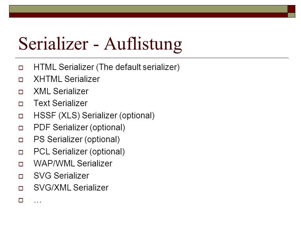 Serializer - Auflistung HTML Serializer (The default serializer) XHTML Serializer XML Serializer Text Serializer HSSF (XLS) Serializer (optional) PDF