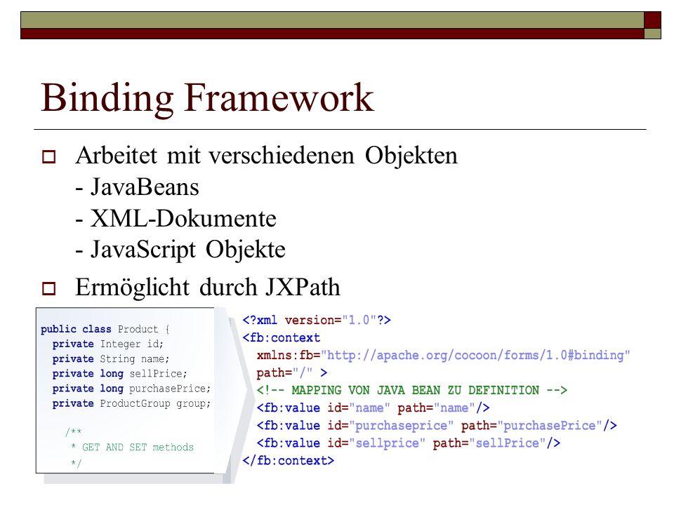 Binding Framework Arbeitet mit verschiedenen Objekten - JavaBeans - XML-Dokumente - JavaScript Objekte Ermöglicht durch JXPath
