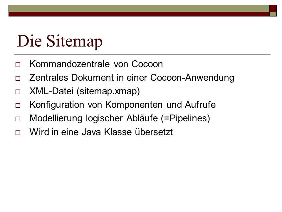 Die Sitemap Kommandozentrale von Cocoon Zentrales Dokument in einer Cocoon-Anwendung XML-Datei (sitemap.xmap) Konfiguration von Komponenten und Aufruf