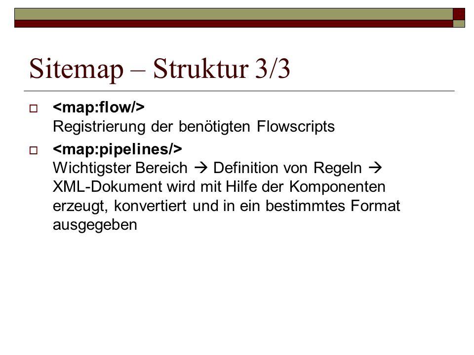 Sitemap – Struktur 3/3 Registrierung der benötigten Flowscripts Wichtigster Bereich Definition von Regeln XML-Dokument wird mit Hilfe der Komponenten