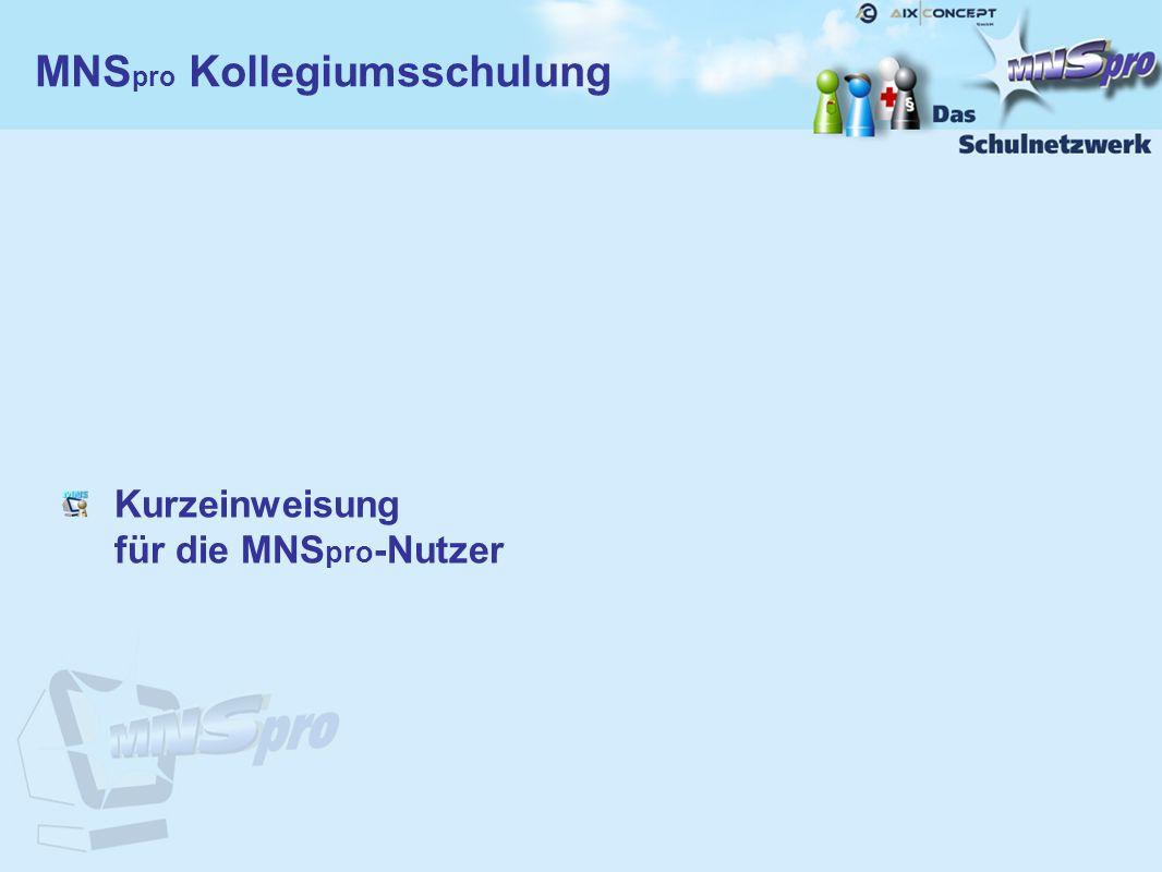 Kurzeinweisung für die MNS pro -Nutzer MNS pro Kollegiumsschulung