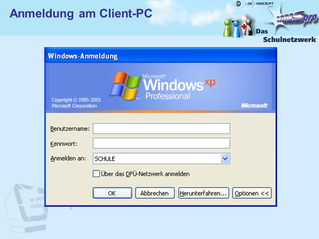 Anmeldung am Client-PC