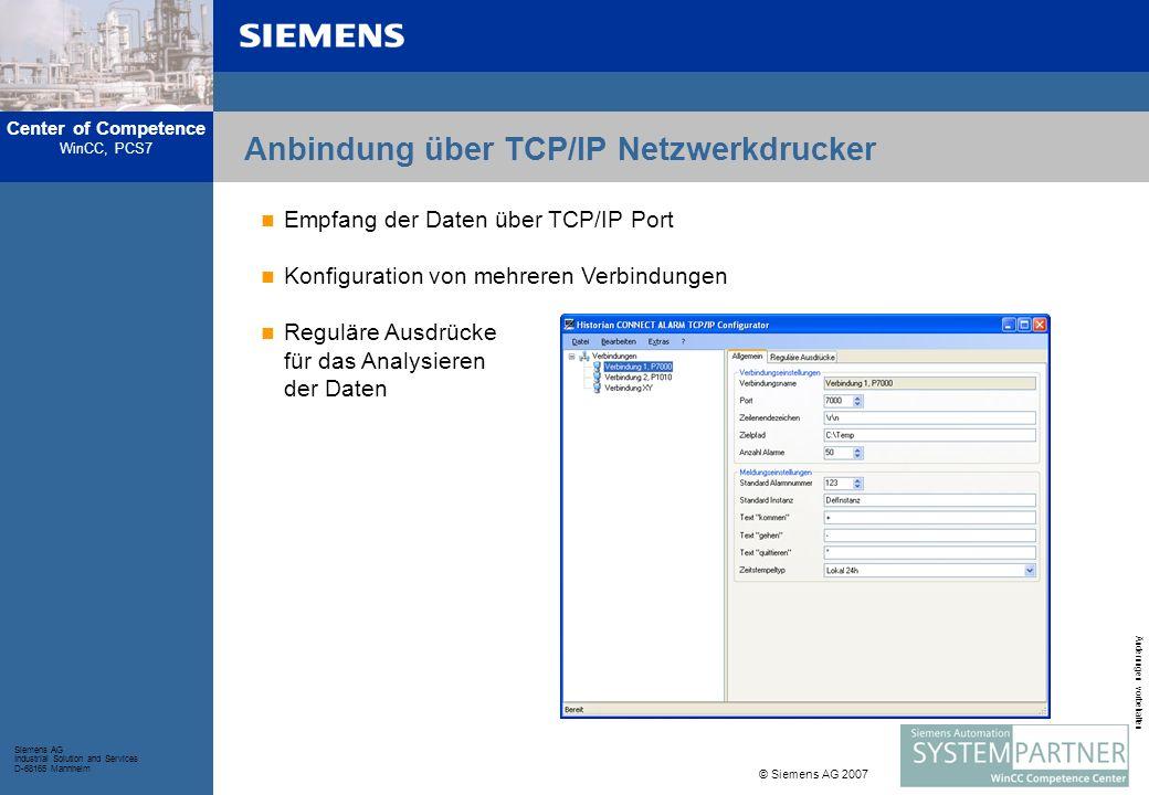 Center of Competence WinCC, PCS7 Siemens AG Industrial Solution and Services D-68165 Mannheim © Siemens AG 2007 Änderungen vorbehalten Anbindung über TCP/IP Netzwerkdrucker Empfang der Daten über TCP/IP Port Konfiguration von mehreren Verbindungen Reguläre Ausdrücke für das Analysieren der Daten
