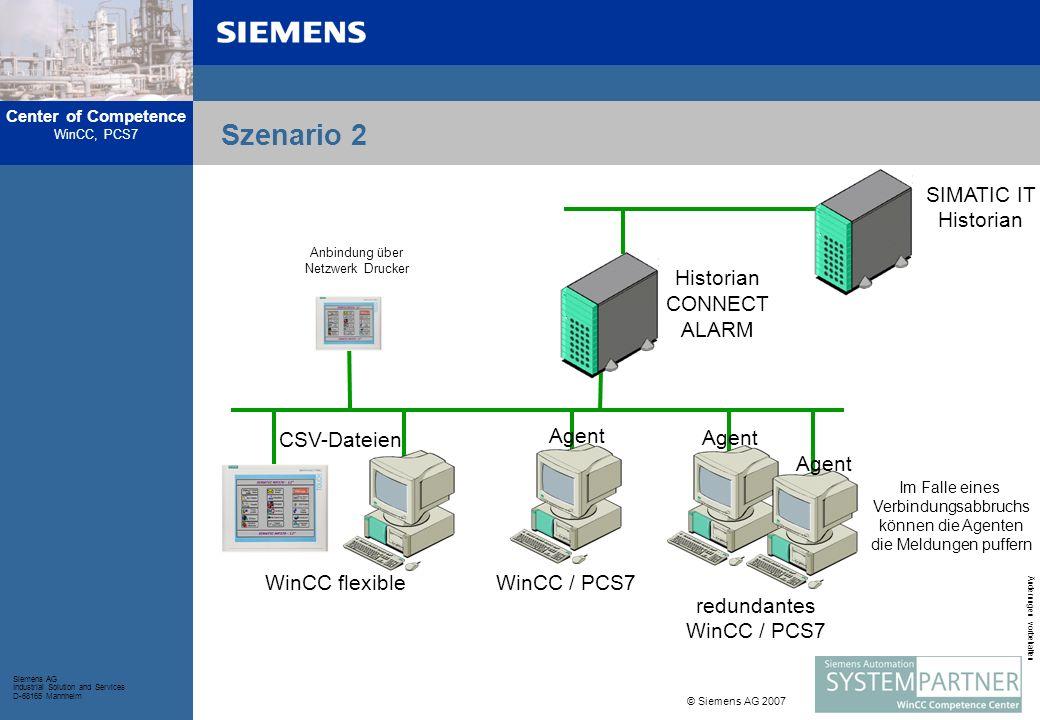 Center of Competence WinCC, PCS7 Siemens AG Industrial Solution and Services D-68165 Mannheim © Siemens AG 2007 Änderungen vorbehalten Historian CONNECT ALARM Bei Fragen wenden Sie sich bitte an:: Internet: http://www.siemens.com/historian-connect-alarm Email: winccaddon.automation@siemens.com Tel:+49 (0) 621 456 -3269 / -3641 / -3382 Fax:+49 (0) 621 456 -3334