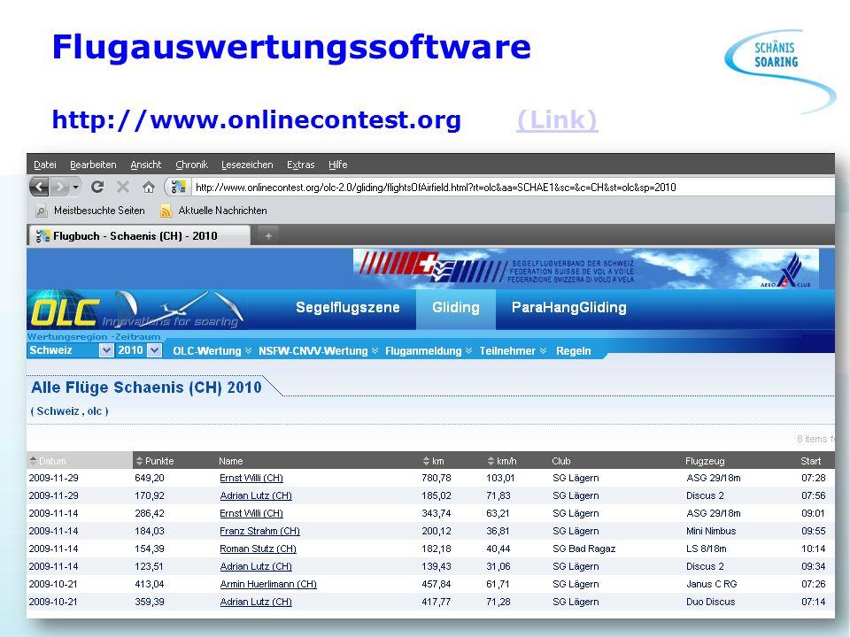 Flugauswertungssoftware http://www.onlinecontest.org (Link)(Link)