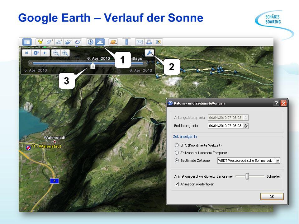 Google Earth – Verlauf der Sonne 1 2 3
