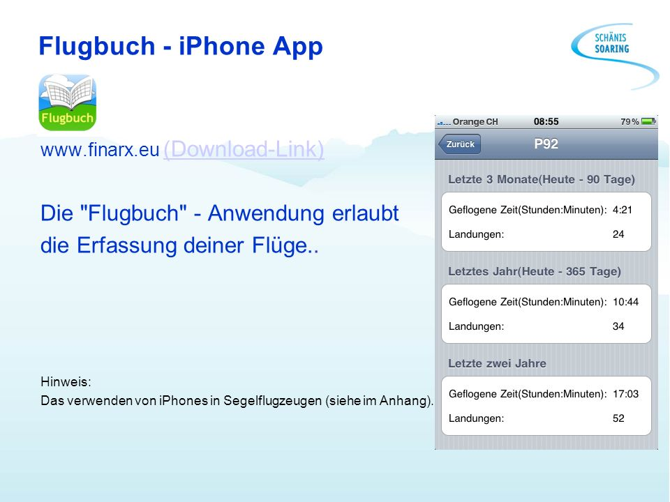 Flugbuch - iPhone App www.finarx.eu (Download-Link)(Download-Link) Die
