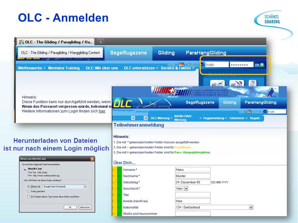 OLC - Anmelden Herunterladen von Dateien ist nur nach einem Login möglich