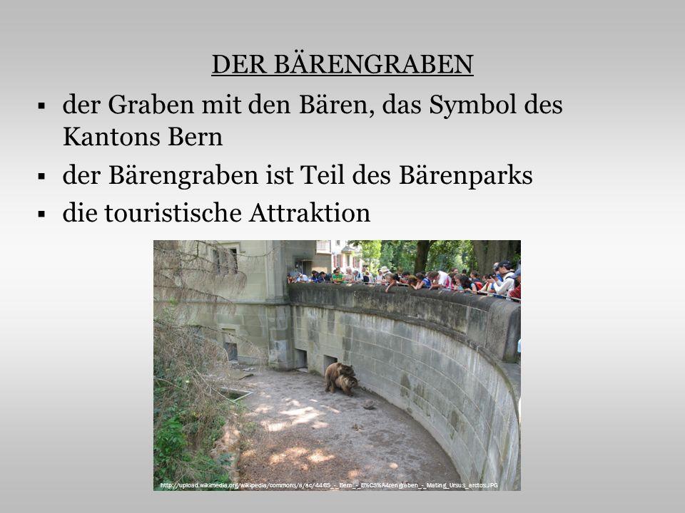 DER BÄRENGRABEN der Graben mit den Bären, das Symbol des Kantons Bern der Bärengraben ist Teil des Bärenparks die touristische Attraktion http://upload.wikimedia.org/wikipedia/commons/a/ac/4465_-_Bern_-_B%C3%A4rengraben_-_Mating_Ursus_arctos.JPG