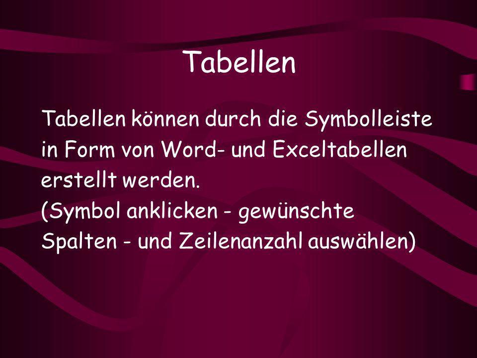 Tabellen Tabellen können durch die Symbolleiste in Form von Word- und Exceltabellen erstellt werden.