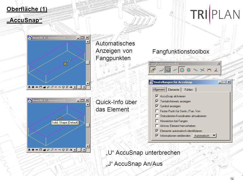 14 Oberfläche (1) AccuSnap Automatisches Anzeigen von Fangpunkten Quick-Info über das Element Fangfunktionstoolbox U AccuSnap unterbrechen J AccuSnap