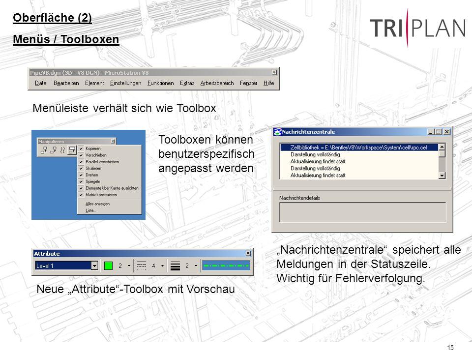 15 Oberfläche (2) Menüs / Toolboxen Menüleiste verhält sich wie Toolbox Toolboxen können benutzerspezifisch angepasst werden Neue Attribute-Toolbox mit Vorschau Nachrichtenzentrale speichert alle Meldungen in der Statuszeile.