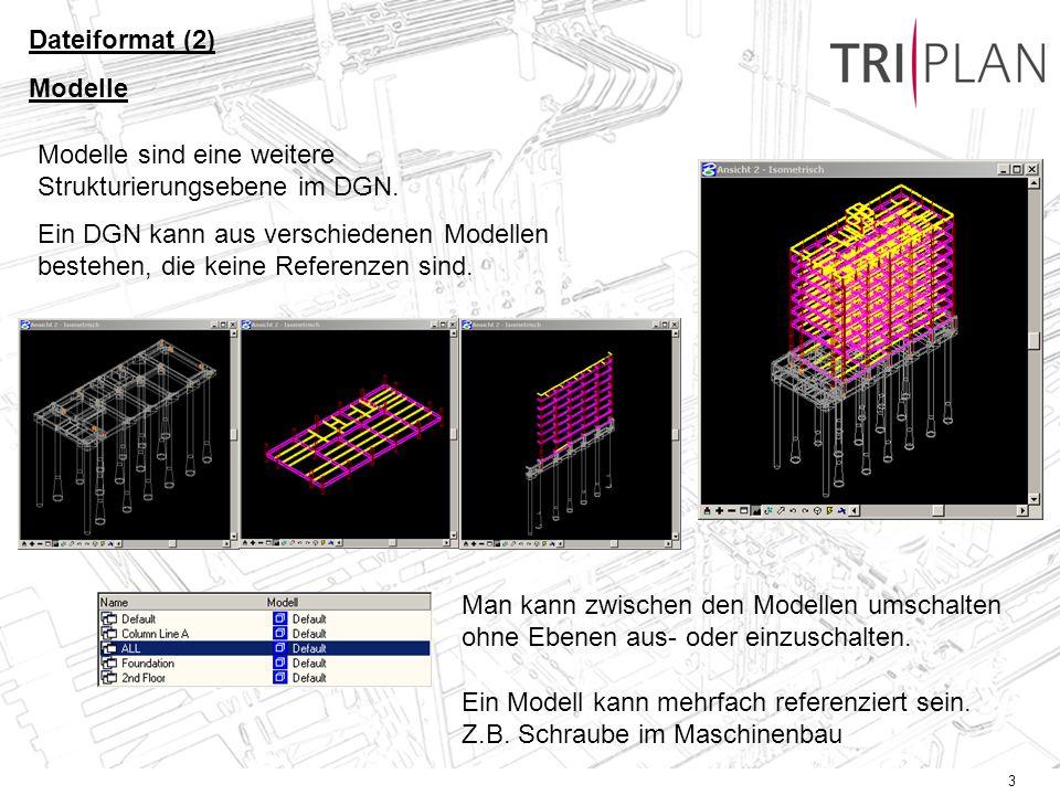 3 Modelle sind eine weitere Strukturierungsebene im DGN. Ein DGN kann aus verschiedenen Modellen bestehen, die keine Referenzen sind. Man kann zwische