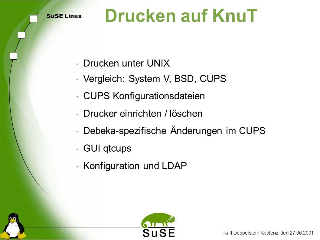 SuSE Linux Drucken auf KnuT Drucken unter UNIX Vergleich: System V, BSD, CUPS CUPS Konfigurationsdateien Drucker einrichten / löschen Debeka-spezifische Änderungen im CUPS GUI qtcups Konfiguration und LDAP Ralf Doppelstein Koblenz, den 27.06.2001
