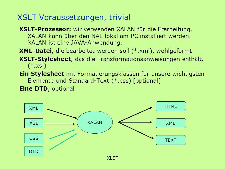 XLST XSLT Voraussetzungen, trivial XSLT-Prozessor: wir verwenden XALAN für die Erarbeitung. XALAN kann über den NAL lokal am PC installiert werden. XA