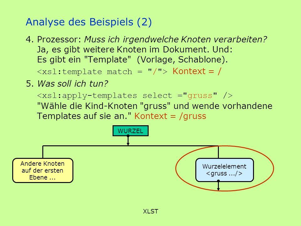 XLST Analyse des Beispiels (2) 4. Prozessor: Muss ich irgendwelche Knoten verarbeiten? Ja, es gibt weitere Knoten im Dokument. Und: Es gibt ein