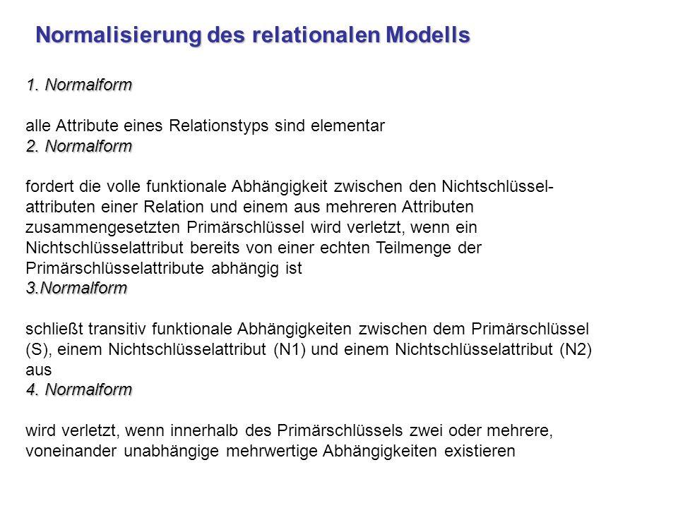1. Normalform alle Attribute eines Relationstyps sind elementar 2. Normalform fordert die volle funktionale Abhängigkeit zwischen den Nichtschlüssel
