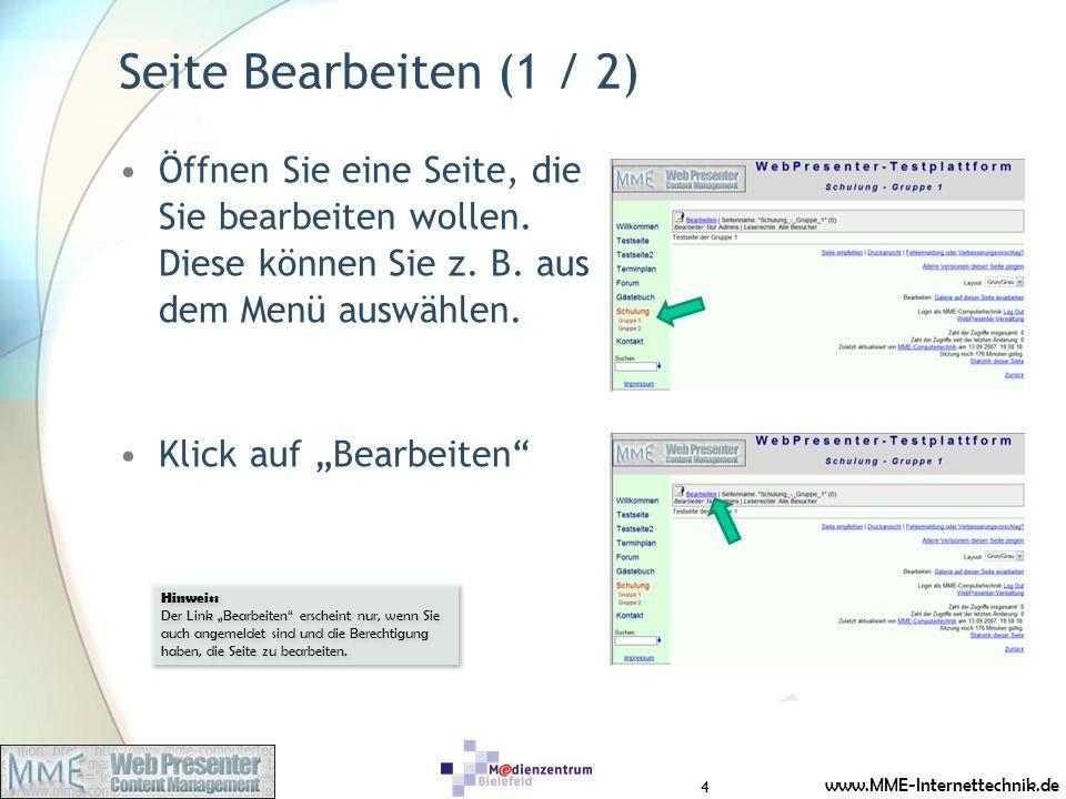 www.MME-Internettechnik.de Seite Bearbeiten (1 / 2) Öffnen Sie eine Seite, die Sie bearbeiten wollen. Diese können Sie z. B. aus dem Menü auswählen. K