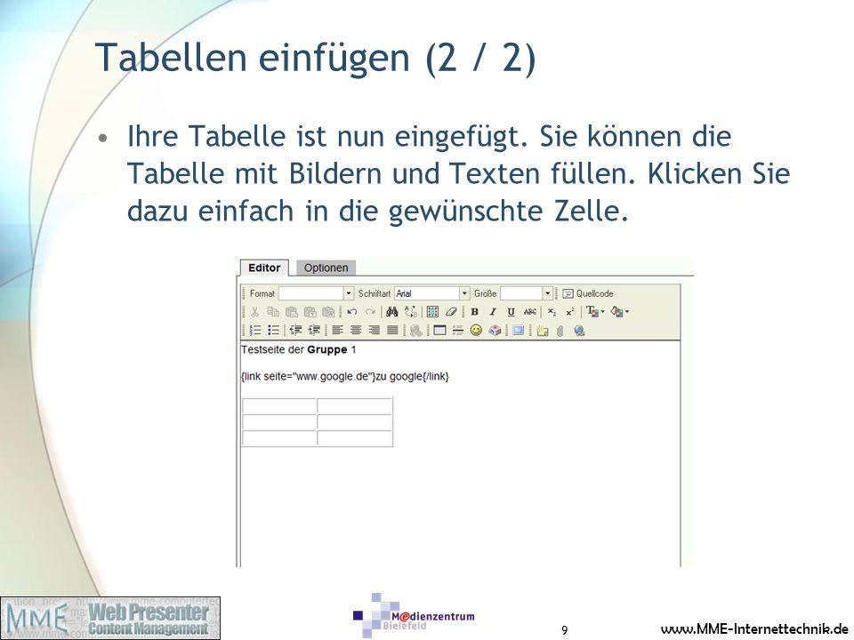 www.MME-Internettechnik.de Neue Bilder & Dateien einfügen (1 / 7) 1.Gehen Sie wieder in den Bearbeitungsmodus Ihrer Seite 2.Klicken Sie auf das Dateisymbol (Büroklammer) 3.Das Dateifenster öffnet sich und Sie können Bilder und Dateien von Ihrem Rechner hochladen.