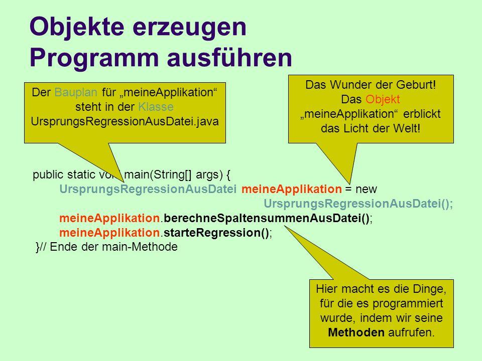 Objekte erzeugen Programm ausführen public static void main(String[] args) { UrsprungsRegressionAusDatei meineApplikation = new UrsprungsRegressionAus