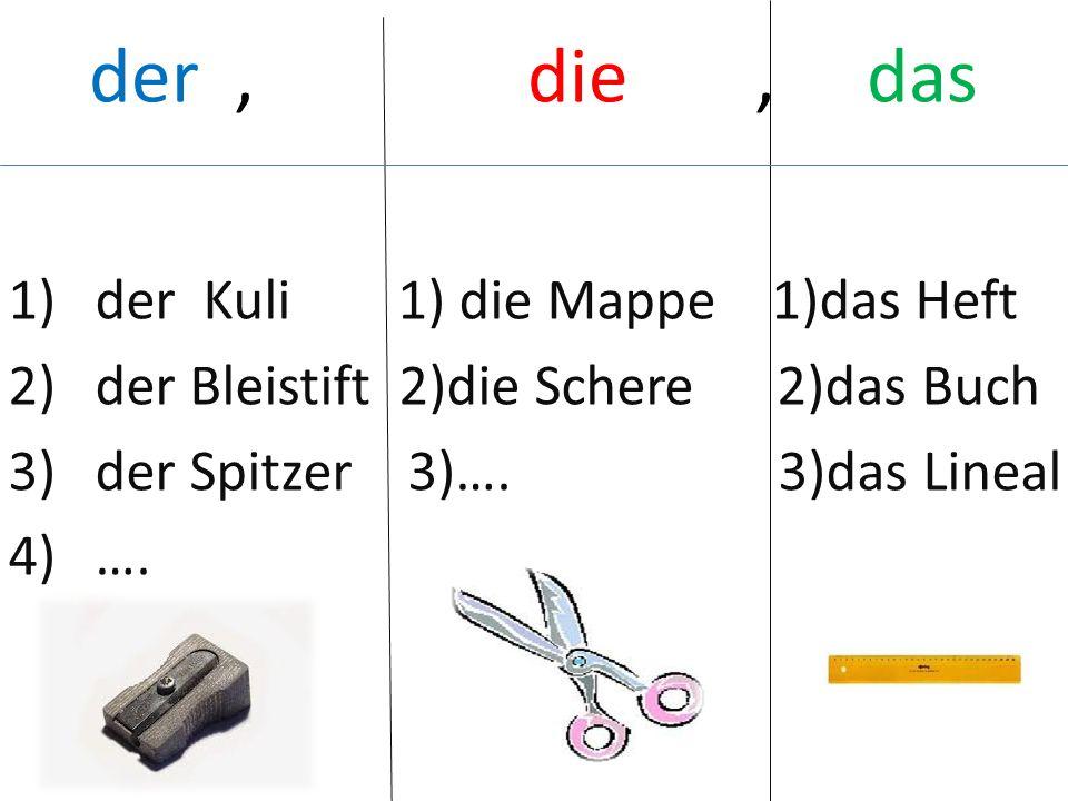 der, die, das 1)der Kuli 1) die Mappe 1)das Heft 2)der Bleistift 2)die Schere 2)das Buch 3)der Spitzer 3)….